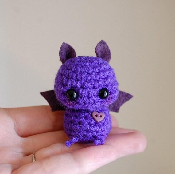 Make Amigurumi Bat Crochet : Violet Mini Bat Amigurumi Kawaii Halloween by twistyfishies