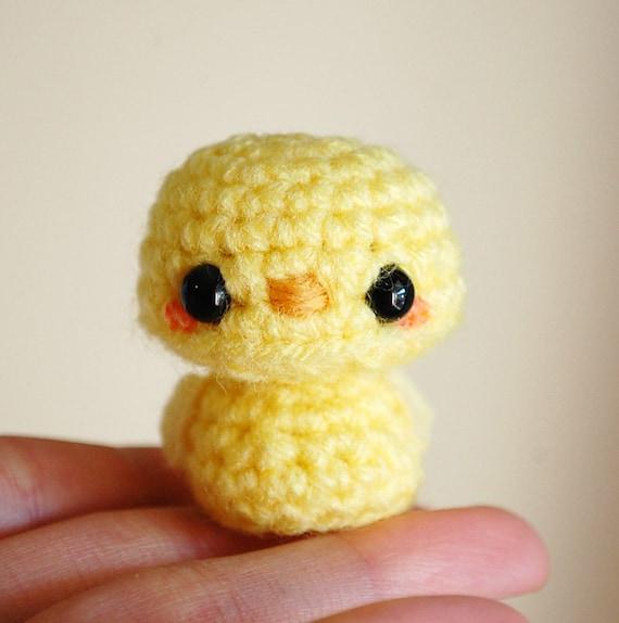 Baby Bird Amigurumi : Yellow Baby Bird Kawaii Mini Amigurumi