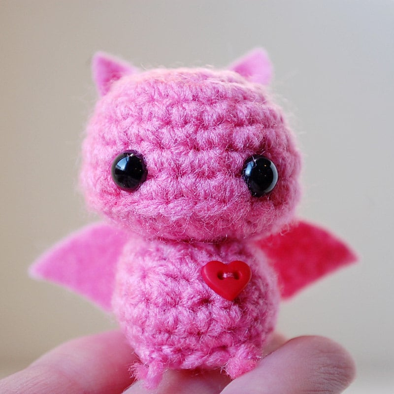 Baby Pink Bat Kawaii Mini Amigurumi by twistyfishies on Etsy