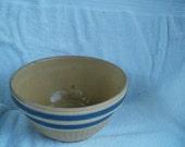 Vintage Yelloware Blue Banded Mixing Bowl