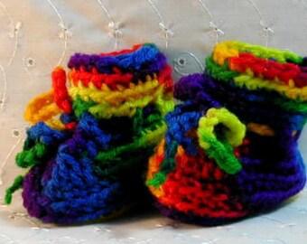 Crochet baby cap and booties set in rainbow colors