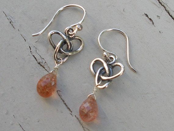 Sterling Silver Knot and Sunstone Earrings - Bees - FOR ANDI ONLY