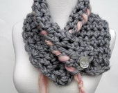 Dream of Romance Cowl in Gray with Soft Pink Handspun Woven Edge Handcrocheted