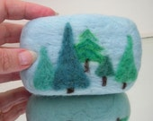 Organic Felted Soap Blue Forest Peppermint Soap with Merino Wool