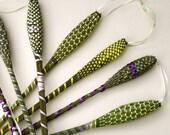 French Lavender Wand Organic Sachet Super Long Yellow Green Woven Ribbon Organic