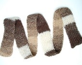 Handknit Scarf Coffee Liqueur Nougat Natural Alpaca Merino Unisex super soft long skinny  brown beige white