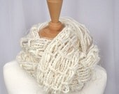 Scarf Handknit Handspun Merino Alpaca The Black Swan Woven Art Yarn Cream, White, Champagne