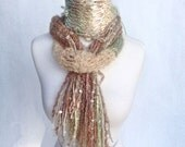 Sage Dream Handknit Scarf from Luxury Mohair Fiber in green and beige spun by South African Artisans