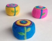 Abstract Felted Soaps Trip Organic Pop Art Poppy Goat Milk  Blue Yellow Hot Pink backgrounds