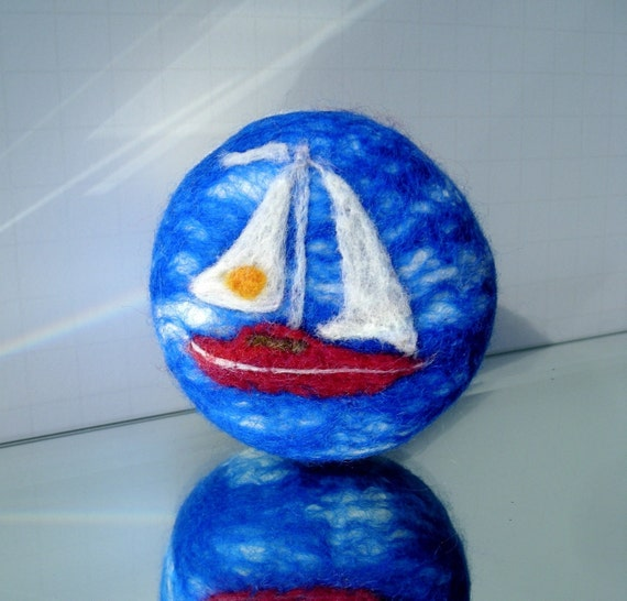 Felted Soap Sailboat Organic Olive Oil Soap
