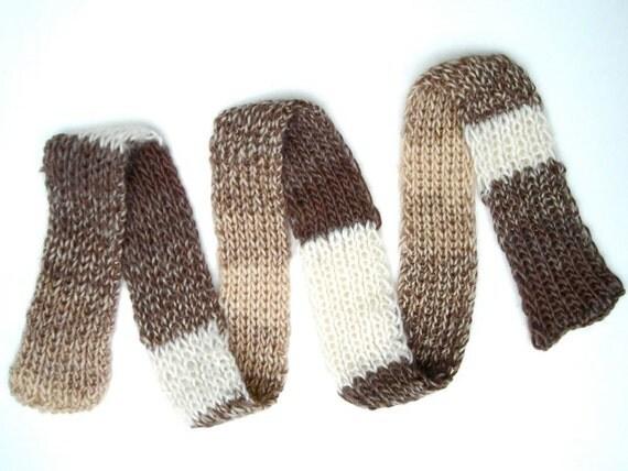 Handknit Scarf Coffee Liqueur Nougat Natural Alpaca Merino Unisex super soft long skinny  brown beige white