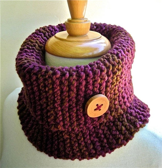 Cowl Wine and Olives Hand Knit Ready to Ship Handspun Merino Purple Olive Oxblood Cabernet OOAK