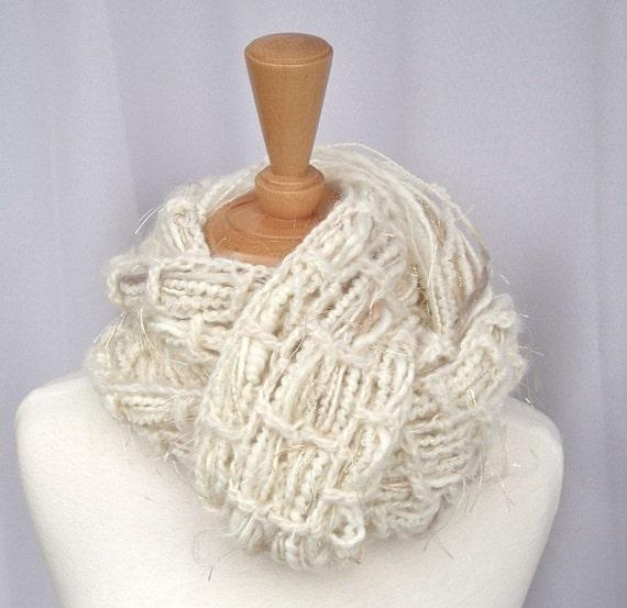 Scarf Handknit Handspun Merino Alpaca The Black Swan Woven Art Yarn Cream, White, Champagne