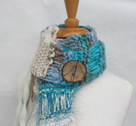 Handknit Scarf Boho Santa Fe Sky -- Ready To Ship Handspun Supersoft Turquoise Brown Gray White Luxury Merino