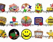 INSTANT DOWNLOAD...Back to School 1 Inch Circle Image Collage for Bottle Caps...Buy 3 get 1