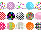 INSTANT DOWNLOAD...Dots... 1 Inch Circle Image Collage for Bottle Caps...Buy 3 get 1