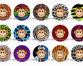 INSTANT DOWNLOAD...Funky Monkey Animal Prints 1 Inch Circle Image Collage for Bottle Caps...Buy 3 get 1