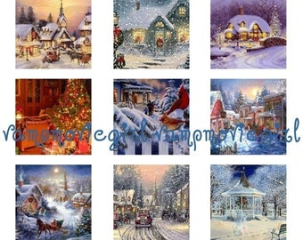 INSTANT DOWNLOAD...Christmas Holiday Scenes 1 Inch Square Images Collage Sheet for Glass Pendants ...Buy 3 get 1