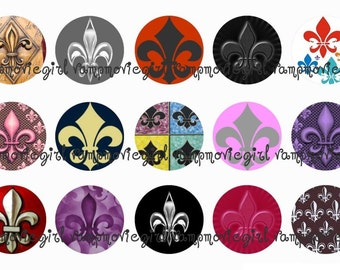 INSTANT DOWNLOAD...Fleur de Lis 1 Inch Circle Image Collage for Bottle Caps...Buy 3 get 1