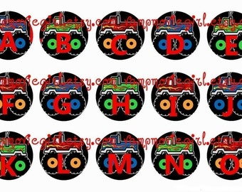 INSTANT DOWNLOAD...Monster Trucks Alphabet 1 Inch Circle Image Collage for Bottle Caps...Buy 3 get 1
