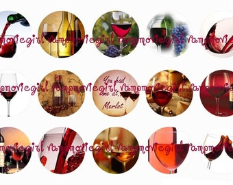 INSTANT DOWNLOAD...Wine 1 Inch Circle Images Collage Sheet for Bottle Caps ...Buy 3 get 1