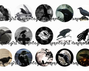 INSTANT DOWNLOAD...The Raven....1 Inch Circle Image Collage for Bottle Caps...Buy 3 get 1