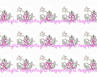 INSTANT DOWNLOAD...Princess Tiara Alphabet 1 Inch Circle Image Collage for Bottle Caps...Buy 3 get 1