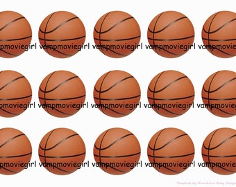 INSTANT DOWNLOAD...Editable Basketball..... 1 Inch Circle Image Collage for Bottle Caps...Buy 3 get 1