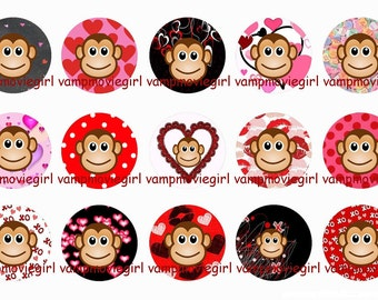 INSTANT DOWNLOAD...Valentine's Day Monkeys 1 Inch Circle Images Collage Sheet for Bottle Caps ...Buy 3 get 1