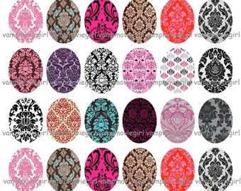 INSTANT DOWNLOAD...Damask... 30x40mm Oval Images Collage Sheet for Pendants ...Buy 3 get 1