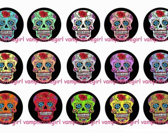 INSTANT DOWNLOAD...Colorful Sugar Skulls... 1 Inch Circle Image Collage for Bottle Caps...Buy 3 get 1