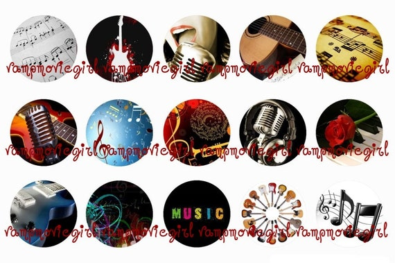 INSTANT DOWNLOAD...Music 1 Inch Circle Images Collage Sheet for Bottle Caps ...Buy 3 get 1