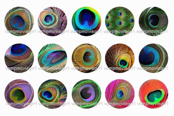 INSTANT DOWNLOAD...Peacock Feather Patterns.... 1 Inch Circle Image Collage for Bottle Caps...Buy 3 get 1