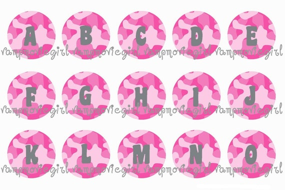 INSTANT DOWNLOAD...Pink Camo Camoflauge Initials... Alphabet 1 Inch Circle Image Collage for Bottle Caps...Buy 3 get 1 Free