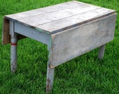 Antique Primitive Farmhouse Drop Leaf Coffee Sofa Table Blue Square Nails Old Paint Early - redroosterbab
