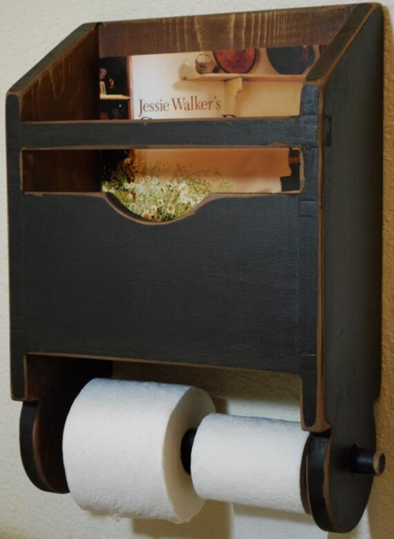 Primitive Antique Bathroom Toilet Paper Magazine by