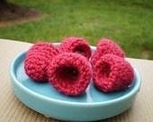Crocheted Wool Raspberries - Set of five