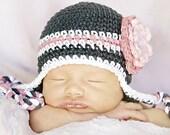 Newborn size grey beanie with pink stripe