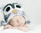3-6 month gray owl hat with earflaps