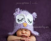 0-3 month size sleeping purple fuzzy owl hat with earflaps