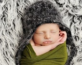 Newborn baby boy hat black and grey fuzzy beanie