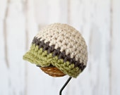 Newsboy hat baby boy newborn size in Linen, Charcoal, and Dusty Green stripe or pick your own colors