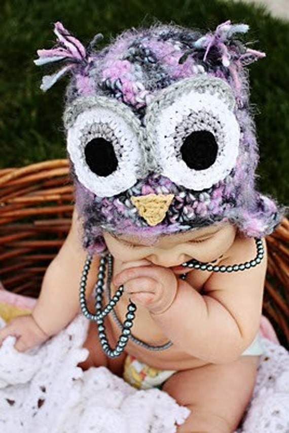 6-12 month size pink and gray owl hat with earflaps