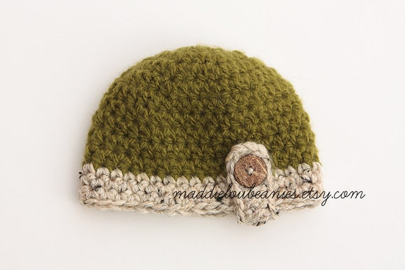 Avacado and Oatmeal Button Strap Beanie 0-3 month size or pick your own colors