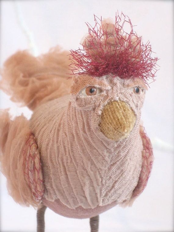 RESERVED FOR JILL  (Maeve, The Little Mauve Bird, Soft Sculpture from Vintage Fabrics)