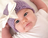 Baby Girl Hat Girl Knit Hat Girl Winter Hat Cashmere and Merino Wool Chunky Knit Beanie in Lilac with Ivory Satin Bow - Size 1