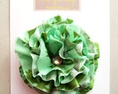 Flower Clip Mint Green Girl Photo Prop - Frayed Fabric Flower Clip in Spearmint Blossom