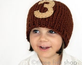 S P R I N G  S A L E  Monogram Knit Hat - Chunky Merino Wool Beanie in Rust with Tan Monogram - Size 4