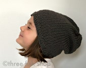 Back to School Knit Slouchy Hat Knit Slouch Hat Merino Wool in Steel Grey - One Size Fits Most Children