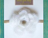 Girl Flower Headband Children Clothing Spring Clothing - Fluffy Flower Skinny Headband in Pure White - Choose your size